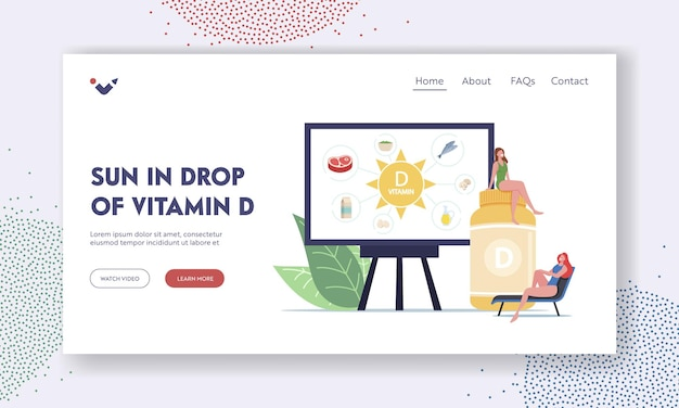 Szablon strony docelowej suplementów witaminy d. małe postacie kobiece w ogromnej butelce i prezentacji na ekranie ze zdrowymi produktami zawierającymi witaminy. ilustracja wektorowa kreskówka ludzie