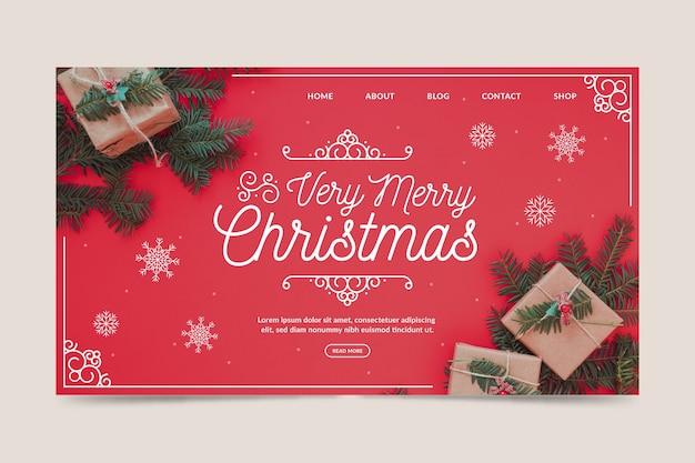 Szablon strony docelowej świąt ze zdjęciem