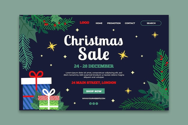 Szablon strony docelowej świątecznej sprzedaży
