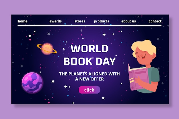 Szablon strony docelowej światowego dnia książki