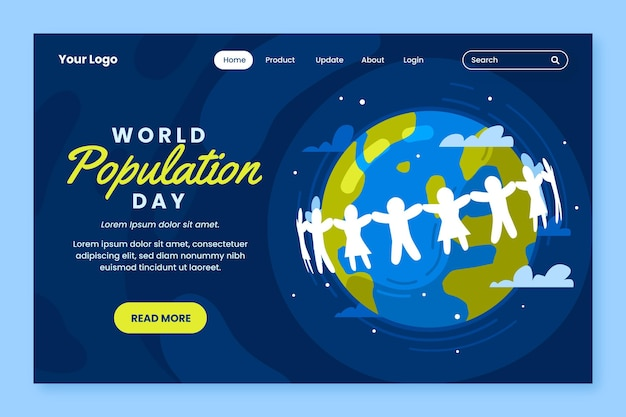Szablon strony docelowej światowego dnia ludności