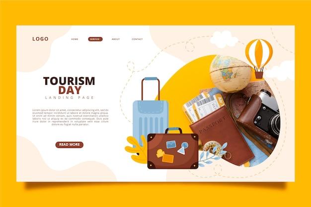 Szablon strony docelowej światowego dnia turystyki ze zdjęciem