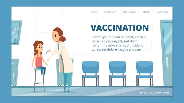 Szablon strony docelowej szczepień dla dzieci. kreskówka lekarz pediatra zaszczepia ilustrację dziecka. lekarz ds. szczepień zdrowotnych, szczepienia w przychodni