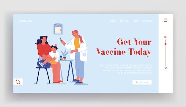 Szablon strony docelowej szczepień dla dzieci. postać lekarza wstrzyknąć dziecko siedzące na ramionach matki. leczenie chorób, opieka zdrowotna, zapobieganie chorobom szpitalnym. ludzie z kreskówek