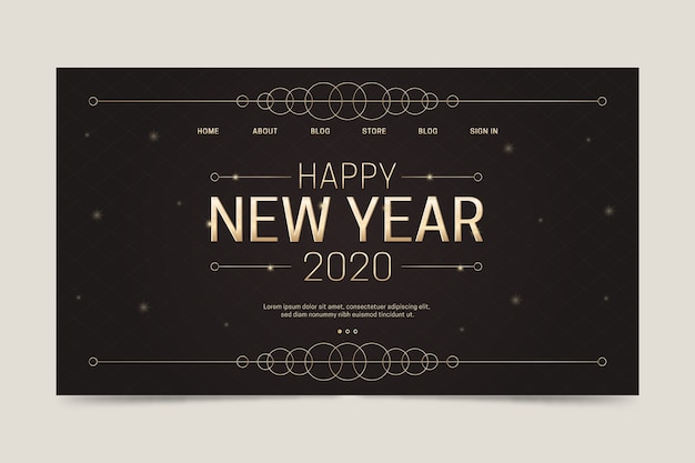 Szablon strony docelowej szczęśliwego nowego roku 2020