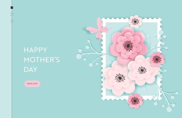 Szablon strony docelowej szczęśliwy dzień matki. dzień matki wakacje baner internetowy z kwiatów ciętych z papieru na ulotki, broszury, strona internetowa wyprzedaż wiosenna. ilustracja wektorowa