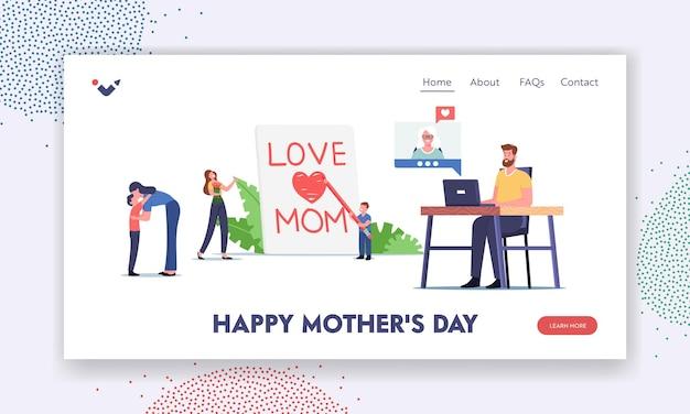 Szablon strony docelowej szczęśliwy dzień matki. małe dziecko postać pisząca miłość mama na ogromnej stronie, dzieci i dorośli gratulują matkom, połączenie rodzinne. ilustracja wektorowa kreskówka ludzie