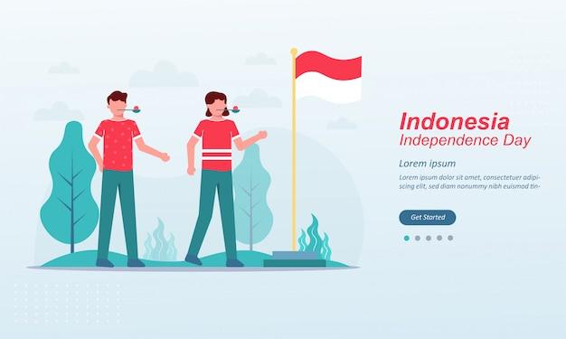 Szablon strony docelowej szczęśliwy dzień niepodległości indonezji