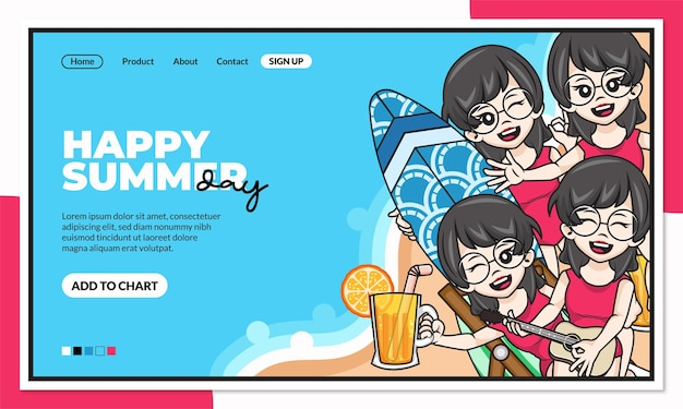 Szablon strony docelowej szczęśliwy letni dzień z uroczą postacią z kreskówki