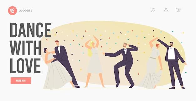 Szablon strony docelowej taniec ślubny. just married postacie tańczą z miłością, nowożeńcy ślub pary młodej i młodej pary, nowy mąż i żona rodzinny walc. ilustracja wektorowa kreskówka ludzie