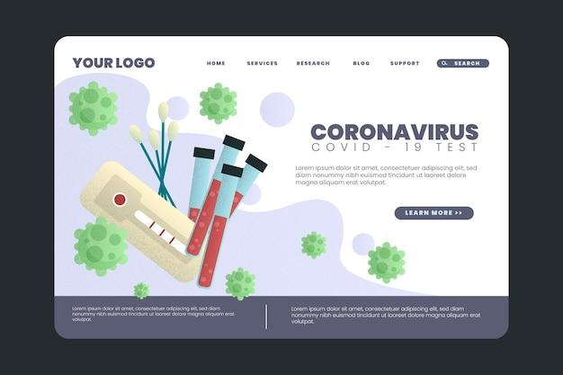 Szablon strony docelowej testu koronawirusa