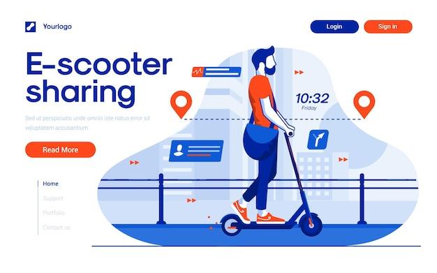 Szablon strony docelowej udostępniania escooter w stylu płaskiej konstrukcji