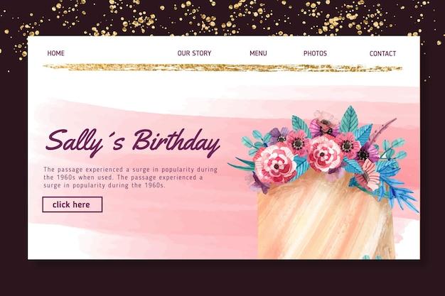 Szablon strony docelowej urodzin