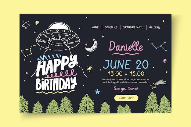 Szablon Strony Docelowej Urodziny Tematu Kosmicznego Darmowych Wektorów