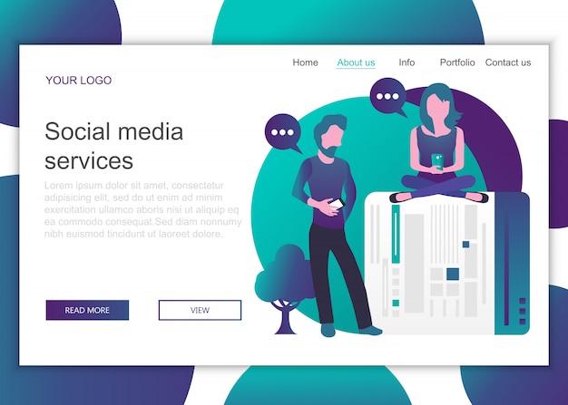 Szablon strony docelowej usług mediów społecznościowych