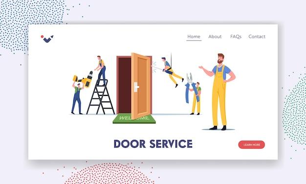 Szablon strony docelowej usługi budowlanej. mistrzowskie męskie postacie naprawiają lub ustawiają nowe drzwi w mieszkaniu. stolarze, mechanicy pracują przy użyciu sprzętu i narzędzi. ilustracja wektorowa kreskówka ludzie