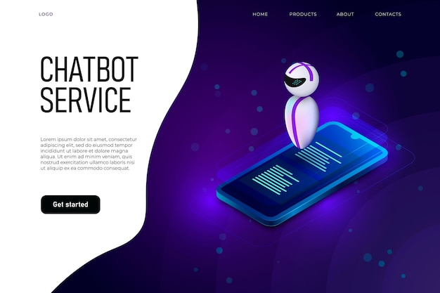 Szablon strony docelowej usługi chatbota z lewitującym robotem nad izometrycznym telefonem.