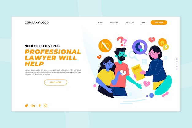 Szablon strony docelowej usługi prawnika rozwodowego