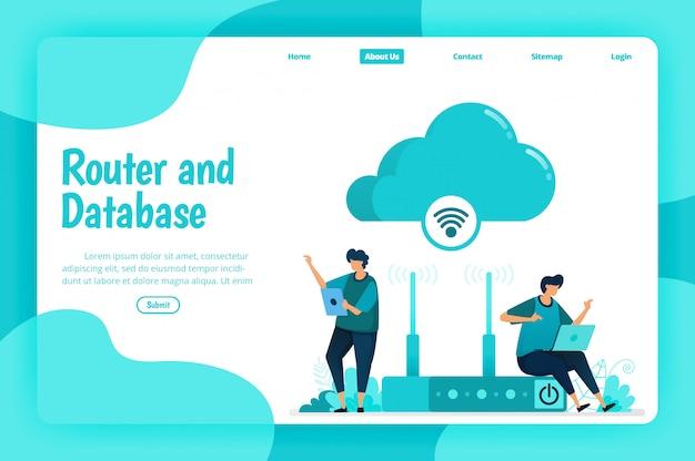 Szablon strony docelowej usługi routera i bazy danych. sieć wi-fi i infrastruktura do połączenia z internetem i bezpiecznego dostępu. ilustracja strony docelowej, strony internetowej, aplikacji mobilnych, plakatu, ulotki
