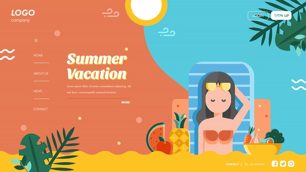 Szablon strony docelowej wakacji letnich
