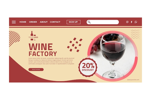Szablon strony docelowej wina