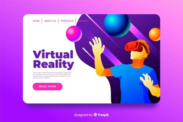 Szablon strony docelowej wirtualnej rzeczywistości płaska konstrukcja