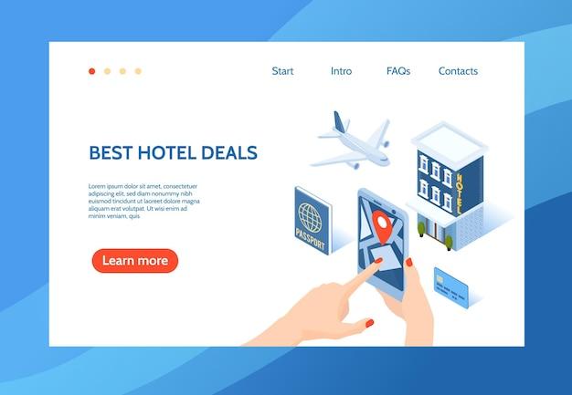 Szablon strony docelowej witryny internetowej izometrycznej koncepcji hotelu z edytowalnymi linkami tekstowymi i klikalnym przyciskiem