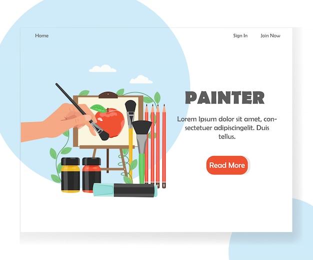 Szablon strony docelowej witryny malarza