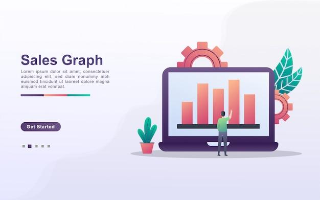 Szablon strony docelowej wykresu sprzedaży w stylu efektu gradientu