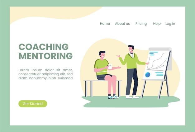 Szablon strony docelowej z dwiema osobami prowadzącymi coaching biznesowy