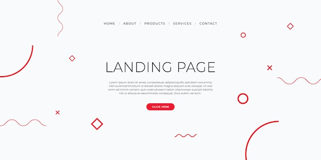 Szablon strony docelowej z geometrycznym wzorem do projektowania witryn biznesowych.