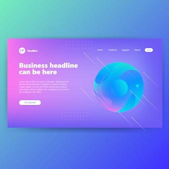Szablon strony docelowej z koncepcją grafiki kreatywnych niebieski projekt