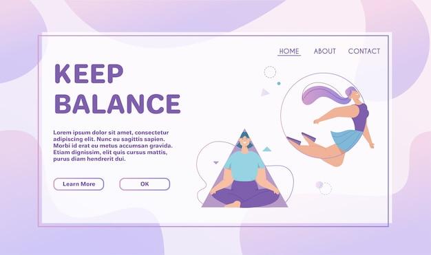 Szablon strony docelowej z koncepcją zachowania równowagi. uśmiechnięta kobieta medytuje w ramce trójkąta, latając w okrągłym kształcie geometrycznym