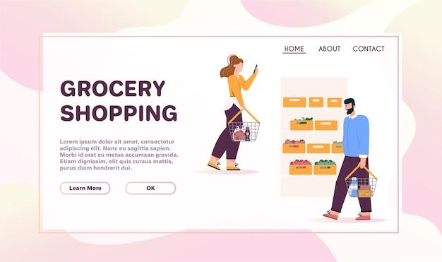 Szablon strony docelowej z koncepcją zakupów spożywczych. mężczyźni i kobiety z koszami chodzą w pobliżu półek z warzywami w supermarkecie
