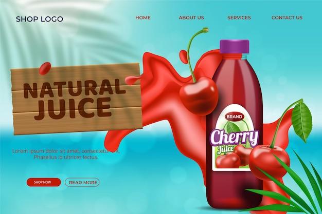 Szablon strony docelowej z naturalnym sokiem
