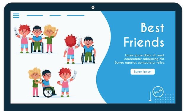 Szablon strony docelowej z niepełnosprawnymi dziećmi to najlepsi przyjaciele. dziewczyna niesie chłopca na wózku inwalidzkim, facet z protezą daje pięć