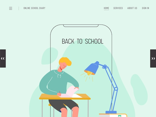 Szablon strony docelowej z powrotem do szkoły. nowoczesna koncepcja edukacji płaska projektowania strony internetowej dla strony internetowej lub telefonu komórkowego. chłopiec w szkole, student uniwersytetu, college. .