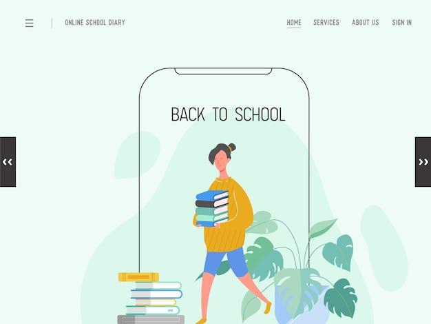 Szablon strony docelowej z powrotem do szkoły. nowoczesna koncepcja edukacji płaska projektowania strony internetowej dla strony internetowej lub telefonu komórkowego. uczennica, studentka uniwersytetu, college. .