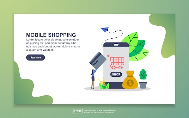 Szablon strony docelowej zakupów mobilnych. nowoczesna koncepcja płaskiego projektowania stron internetowych dla stron internetowych i mobilnych