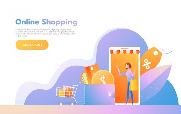 Szablon strony docelowej zakupów online. nowoczesna koncepcja projektowania stron internetowych dla strony internetowej i mobilnej. ilustracji wektorowych