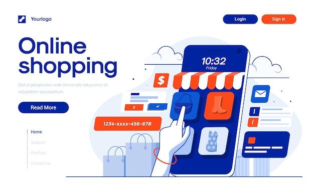 Szablon strony docelowej zakupów online w stylu płaskiej konstrukcji