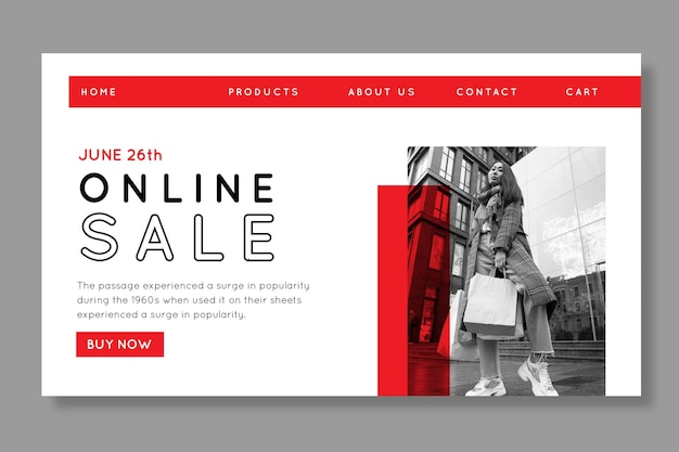 Szablon strony docelowej zakupów online
