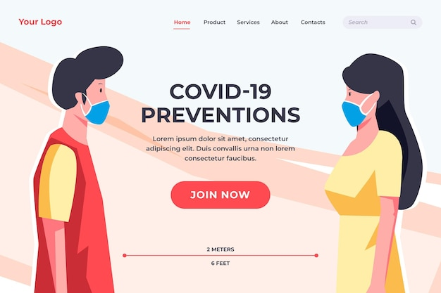 Szablon Strony Docelowej Zapobiegania Koronawirusowi Darmowych Wektorów