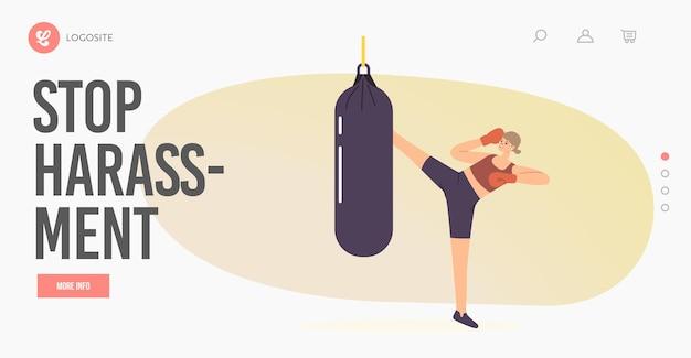 Szablon strony docelowej zatrzymaj nękanie. kobieca postać w rękawicach bokserskich kopanie worek treningowy hit treningowy do samoobrony, przygotowanie do walki, ćwiczenia walki. ilustracja kreskówka wektor