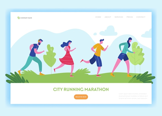 Szablon strony docelowej zdrowego stylu życia. bieganie postaci ludzi w parku, maraton miejski na stronie internetowej i stronie mobilnej. łatwe do edycji.
