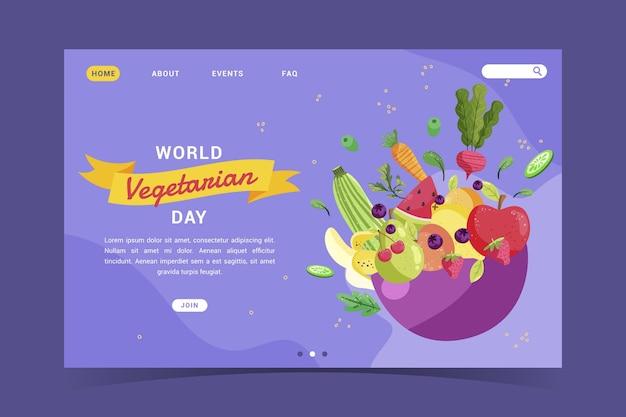 Szablon strony docelowej zdrowego wegetariańskiego jedzenia