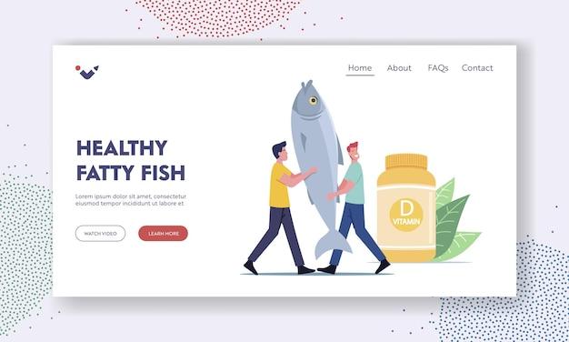 Szablon strony docelowej zdrowej tłustej ryby. produkty lub żywność zawierają witaminę d, mały męski charakter niosą ogromne ryby w pobliżu butelki z witaminami. suplementy dla zdrowia. ilustracja wektorowa kreskówka ludzie
