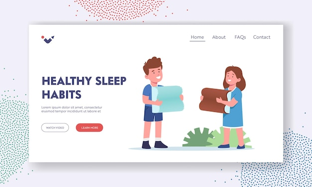 Szablon strony docelowej zdrowych nawyków snu. szczęśliwe dzieci trzymając medyczne poduszki ortopedyczne. postacie chłopiec i dziewczynka z poduszką z pianki lub lateksu z efektem pamięci. ilustracja wektorowa kreskówka ludzie