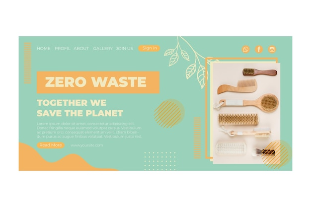 Szablon strony docelowej zero waste w środowisku