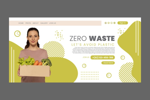 Szablon Strony Docelowej Zero Wastee Darmowych Wektorów
